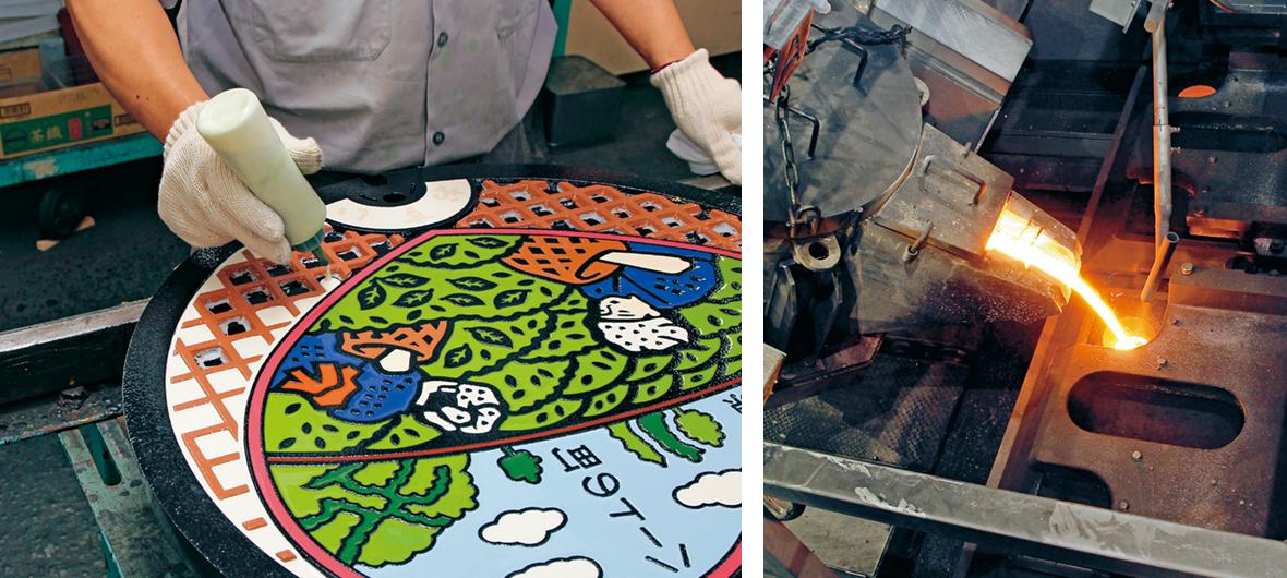 (左上から時計回りで)2DCADと3DCADを使用し、約1週間かけてハートマンホールのデザインを鋳物に適した図案に仕上げる。職人が彫刻刀で木型模型を作成。溶けた鉄が流れやすい溝を彫ることがポイント。砂の鋳型をつくり、約1500℃になる「湯」と呼ばれる溶けた鉄を鋳型へ流し込み、冷却ラインで冷やす。注湯時にできる突起などを切断し、施盤加工後、塗装へ。熟練の塗装職人が0.1g単位で正確に調合した10色ものエポキシ系樹脂を、均一の厚みになるよう丁寧に溝に入れていく。そして一週間ほど乾燥させれば、カラフルなハートマンホールの完成!