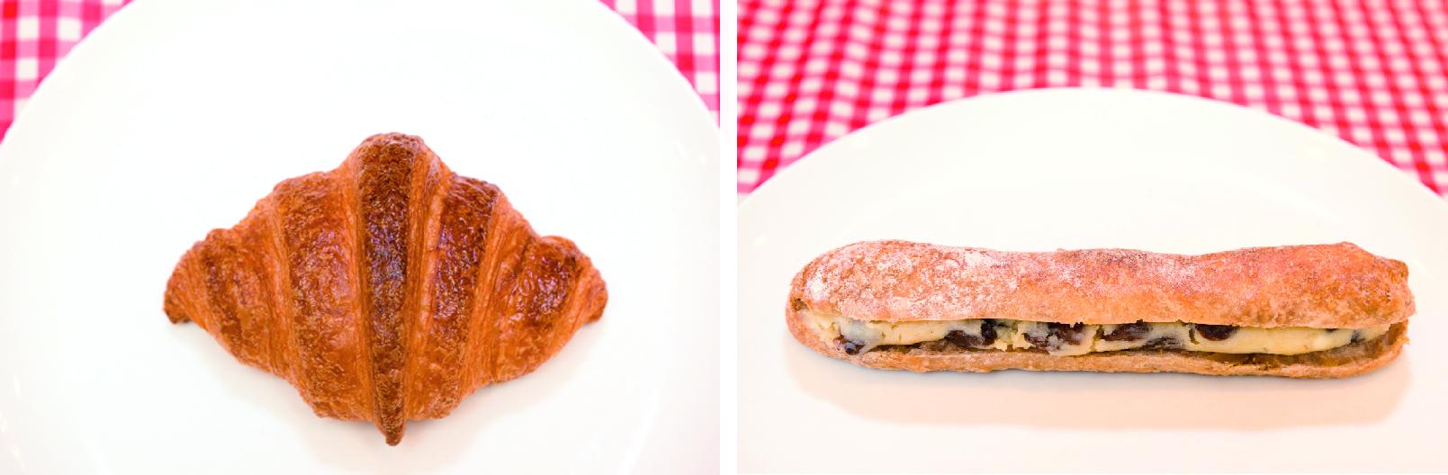左、クロワッサン、右レーズン入りミルクフランス