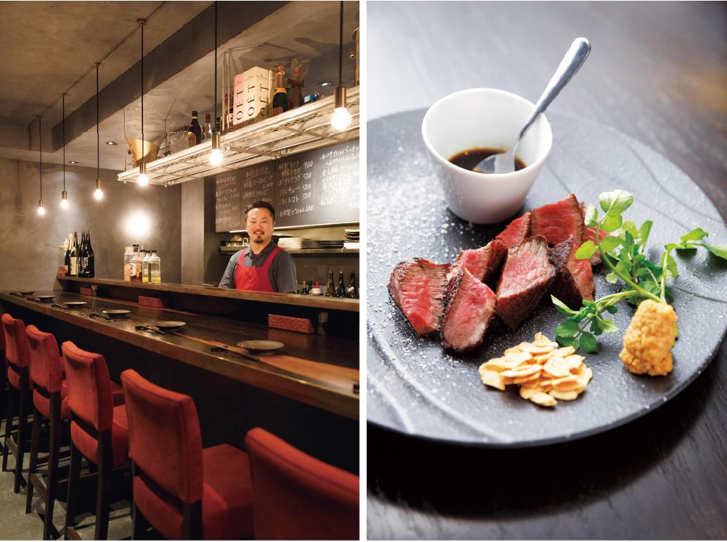 左/肉店などで修業を積んで自分の店を1年前にオープンさせた川勝さん。「自分が選んだ肉を、一番おいしい食べ方でご提供したいです」右/今回選んだランプ肉の揚げ焼きステーキ2,600円。ロゼ色が美しい。シンプルに肉の旨みを味わう一品。