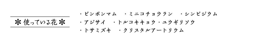 ・ピンポンマム ・ミニコチョウラン ・シンピジウム・アジサイ ・トルコキキョウ ・ユウギリソウ・トサミズキ ・クリスタルアートリウム
