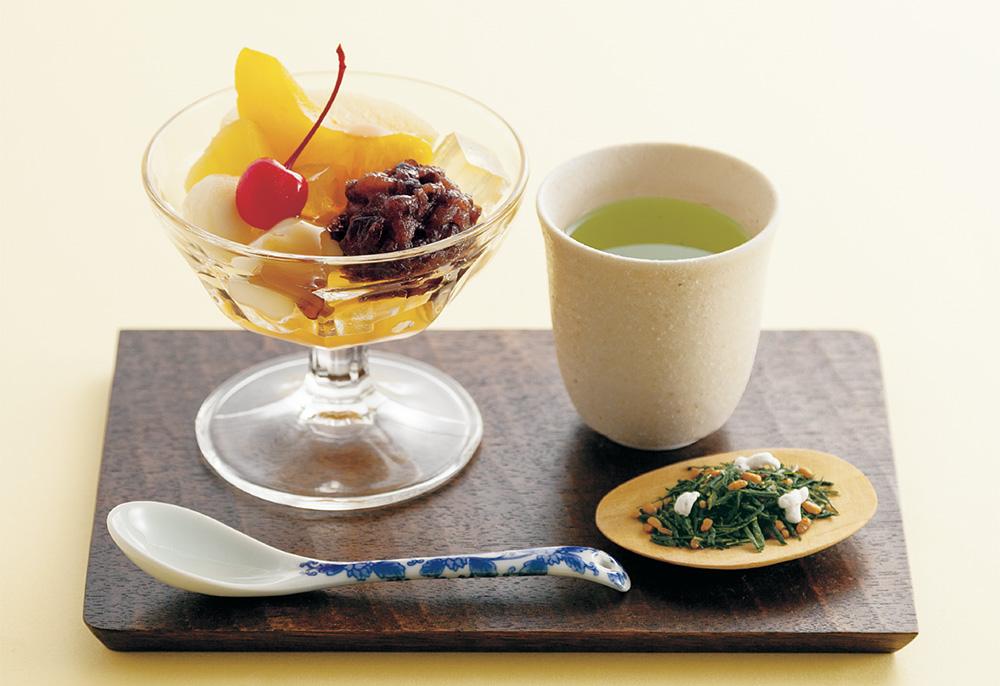 玄米茶×フルーツあんみつ