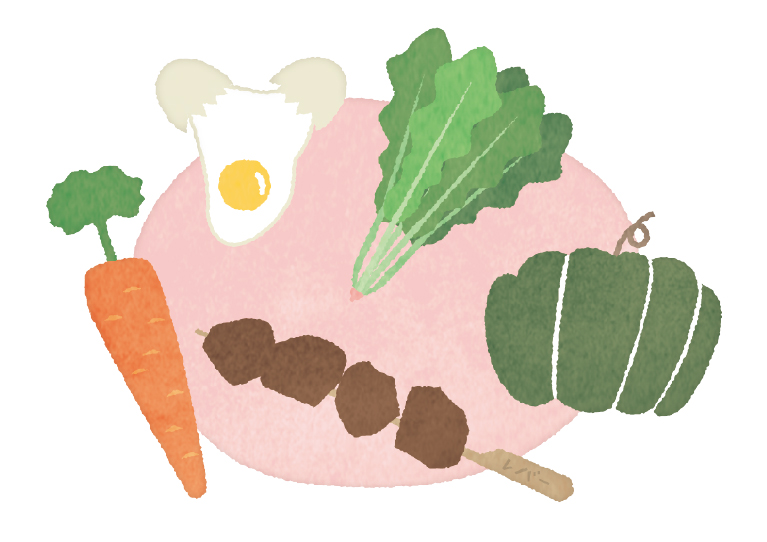 緑黄色野菜や動物性食品のイラスト