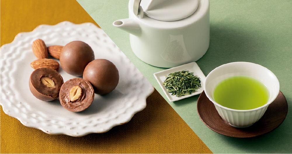 茎茶×アーモンドチョコレート