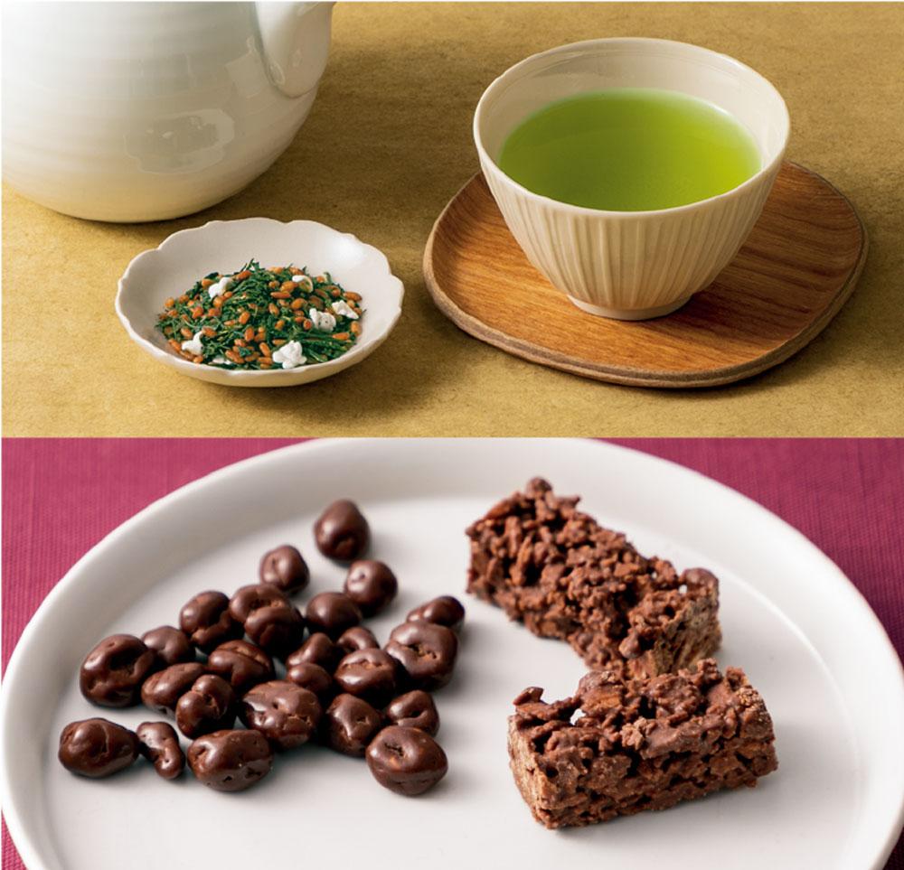 玄米茶×パフ入りチョコレート