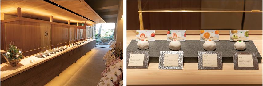 店内は、町家を改装した清浄な空間。カウンターには季節を写した美しい和菓子が並んでいる。