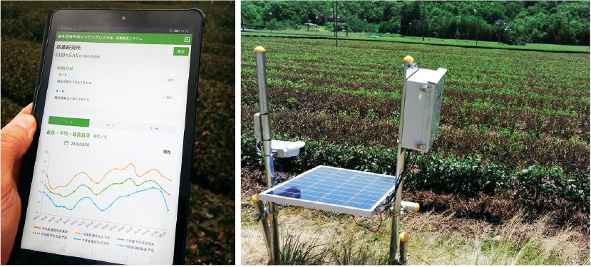 気温の変化をタブレットでチェックするマッピングシステムや定点カメラを活用して、スマート農業の実践を目指す。