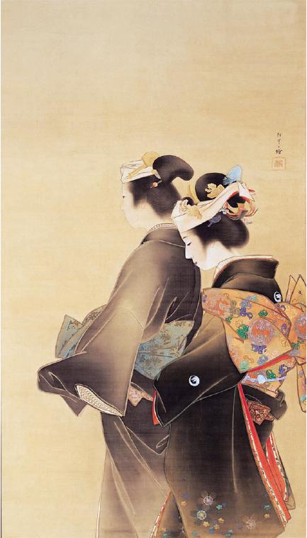「人生の花」1899年 京都市美術館蔵◎通期展示。花嫁の不安と初々しさが表現された松園初期の作。