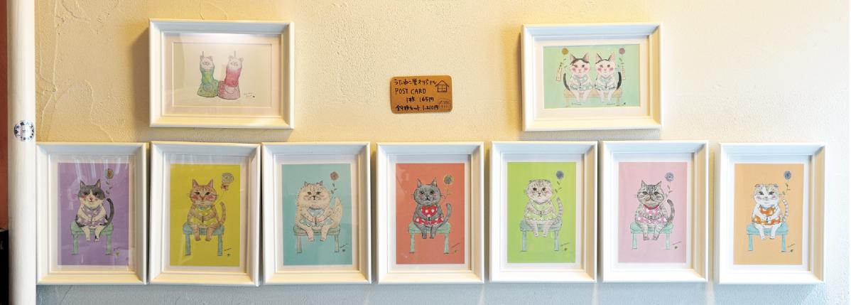 うたねこ堂の猫たちがイラストになったポストカード(8枚1,210円)やTシャツなどすてきなグッズも盛りだくさん。オンラインショップでも購入可能。