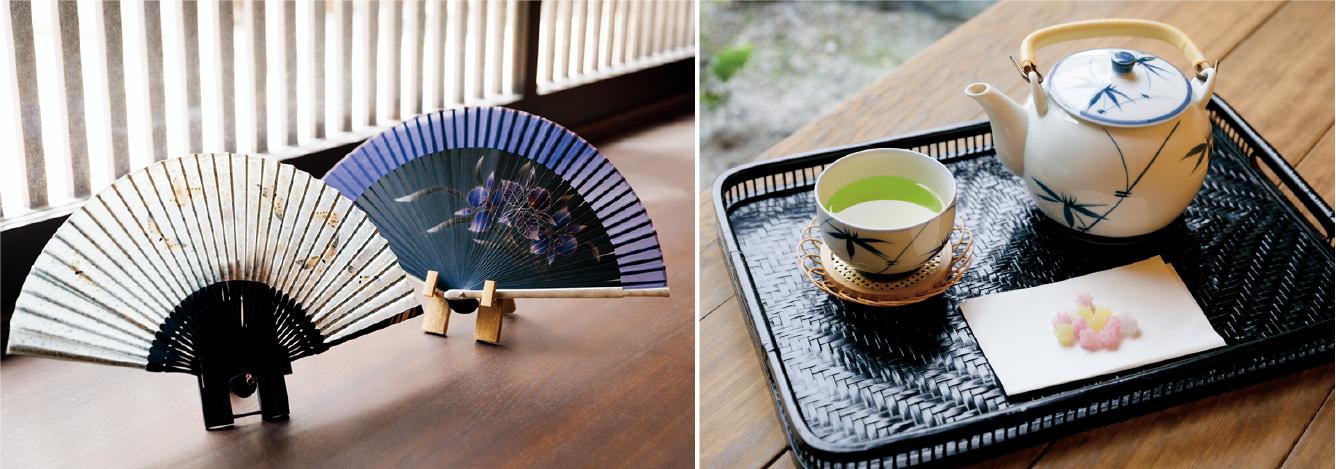 写真右/塩味のある金平糖などをお茶と一緒に食べるのが大西さん流。左/夏らしい絵柄の扇子は蝶々(白)6,600円、カトレア(紺)7,700円。